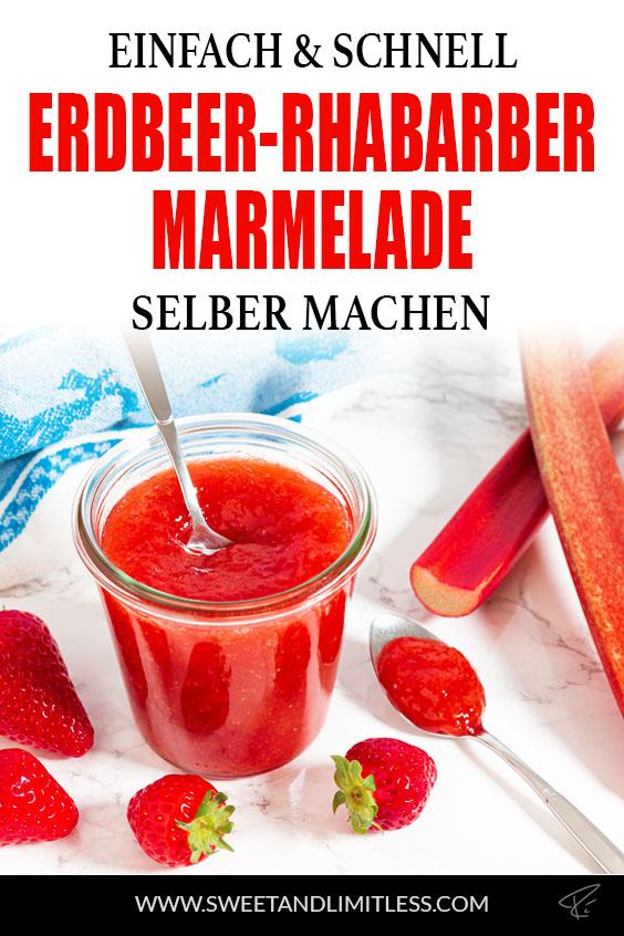 Erdbeer-Rhabarber-Marmelade Pinterest Cover